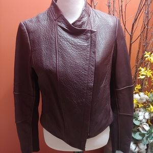 Vince NWT Brown/wine Leather Coat.